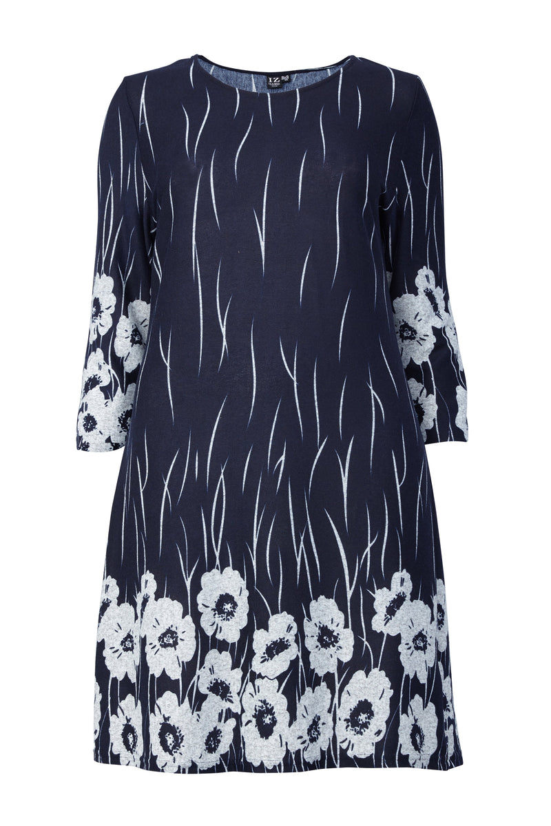 Curve Poppy Print Shift Dress - Izabel London