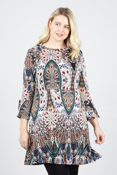Curve Peacock Skater Dress - Izabel London