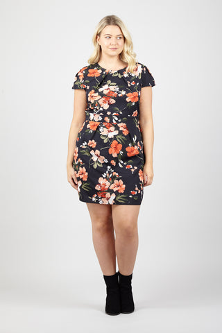 Oriental Floral Bodycon Dress