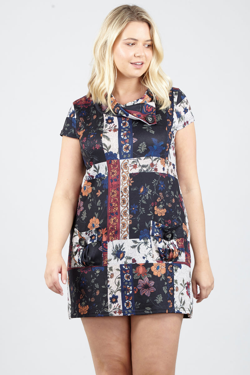 5b774ab7ec5 Curve Patchwork Tunic Dress - Izabel London