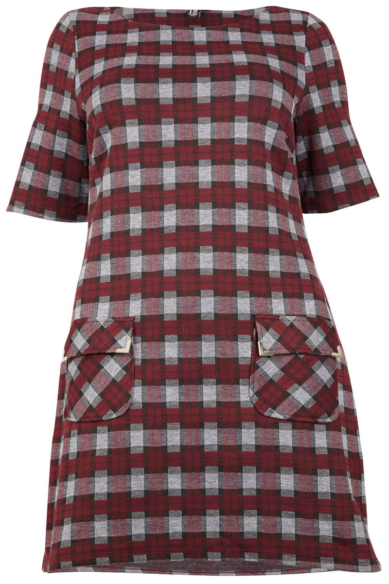 | Curve Checked Shift Dress | Izabel London