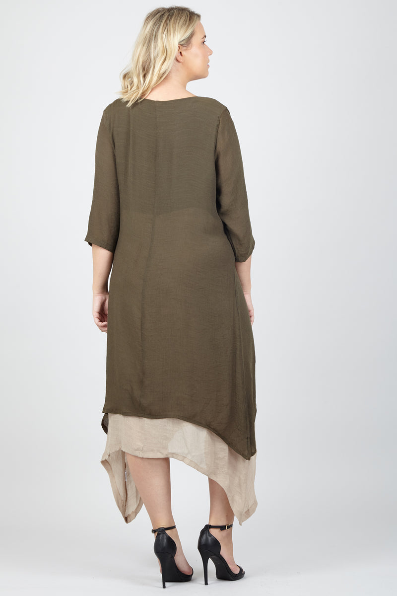 Green | Curve Layered Knit Dress
