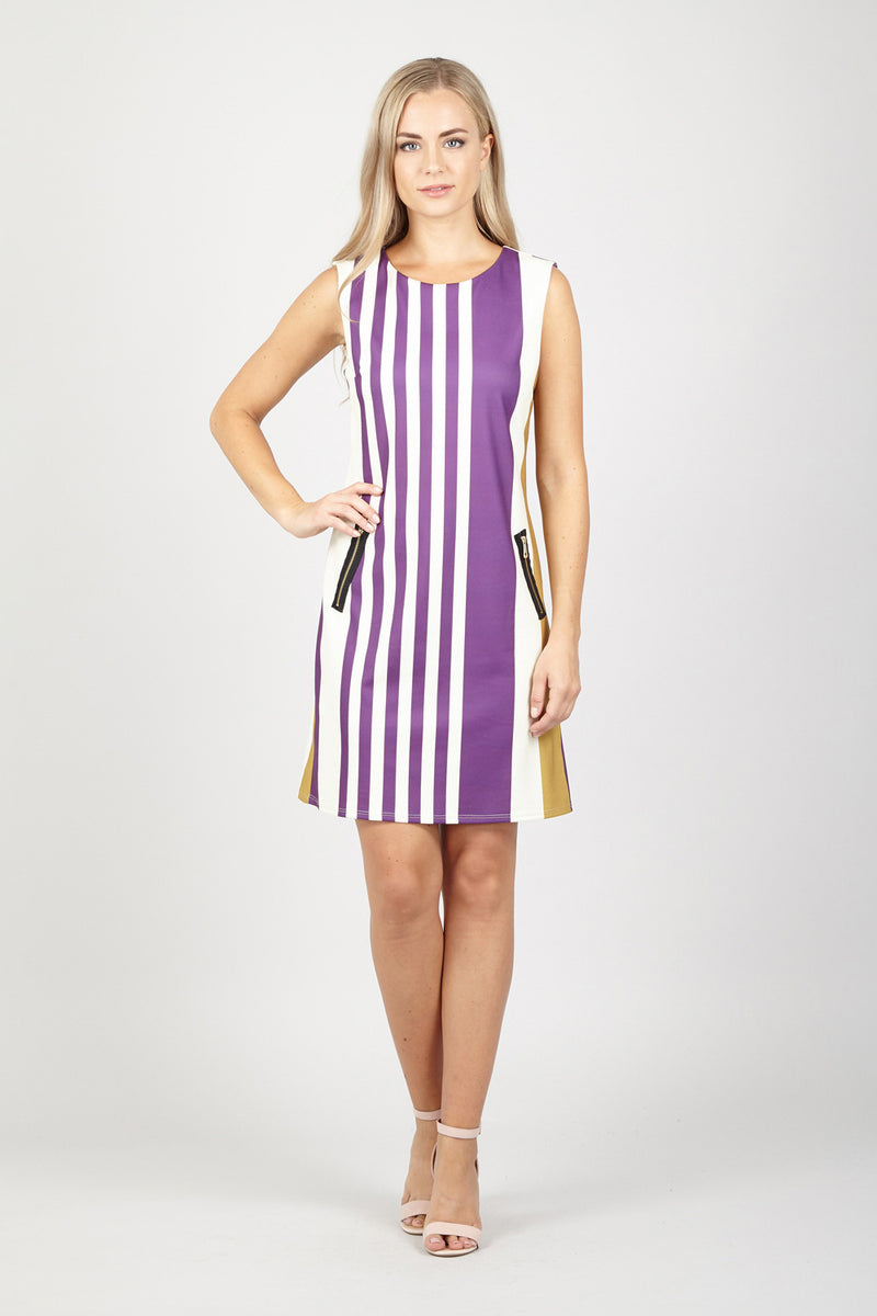 Purple | Stripe Dress With Pockets | Izabel London