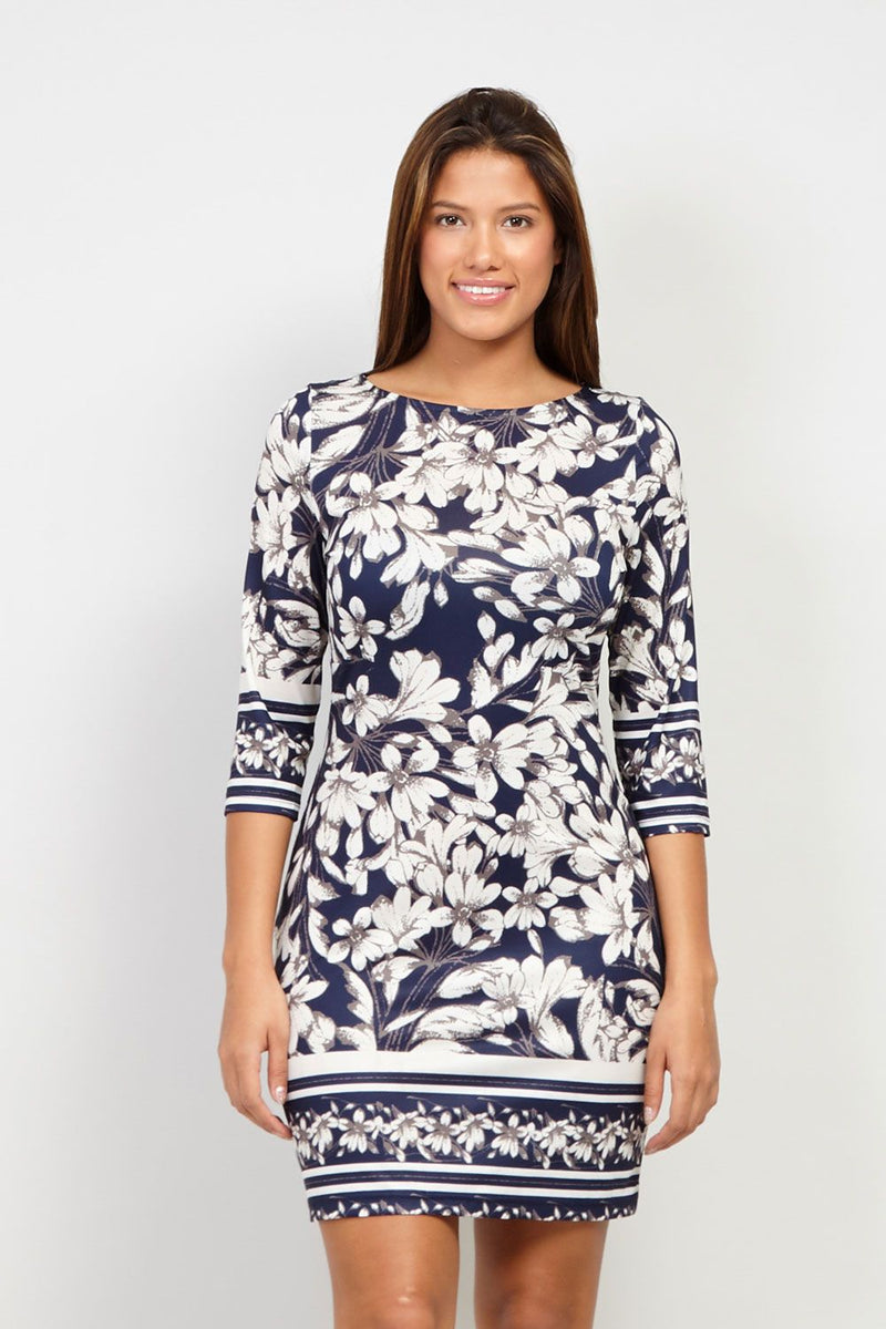 Navy | Floral Bodycon Dress | Izabel London