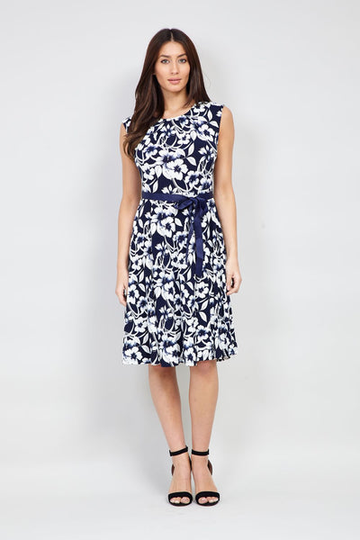 Navy | Floral Tie Waist Fit & Flare Dress