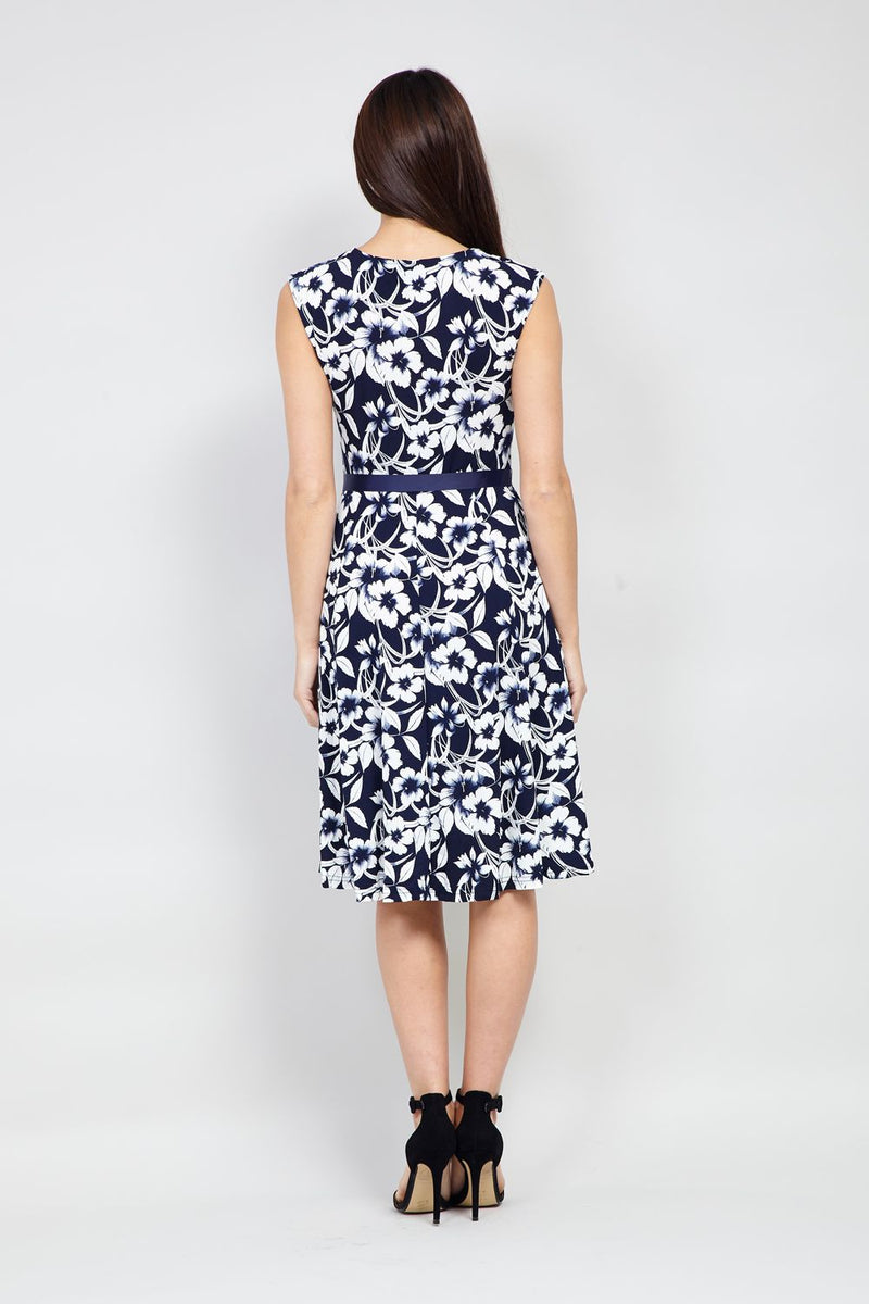 Floral Tie Waist Fit & Flare Dress - Izabel London