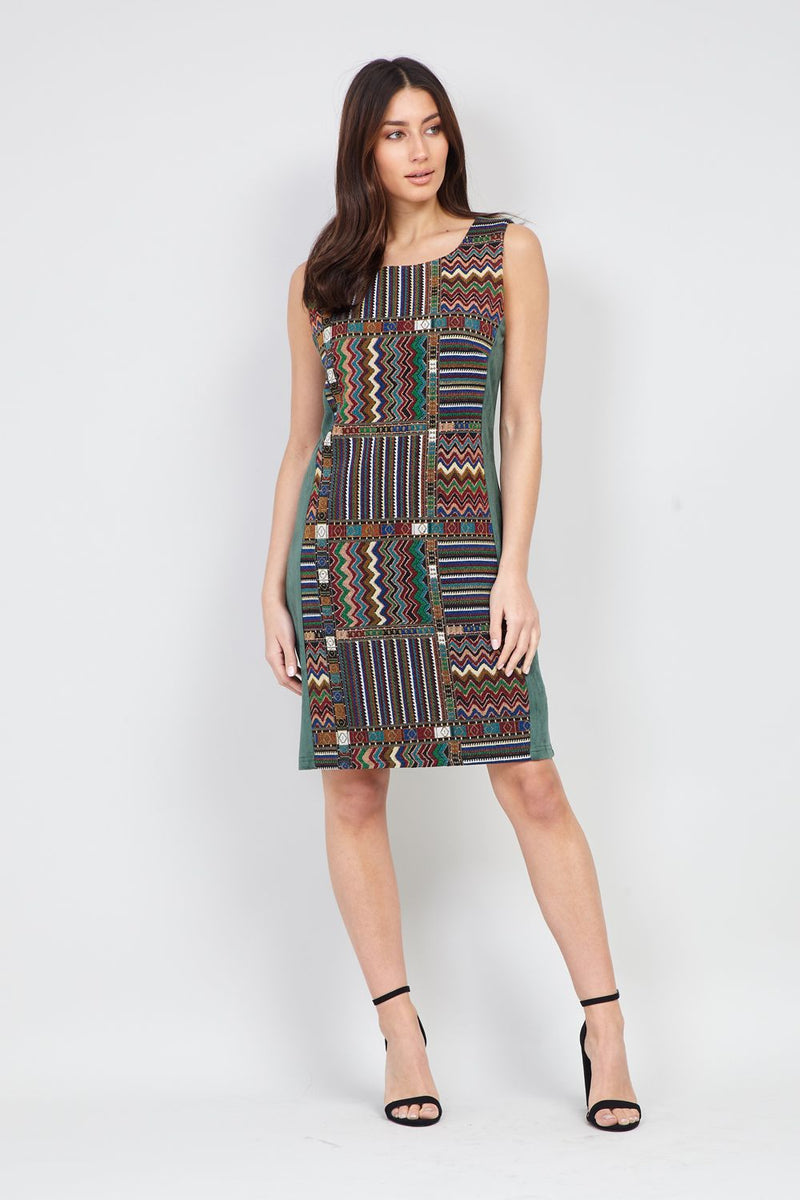 Green | Patchwork Panel Shift Dress