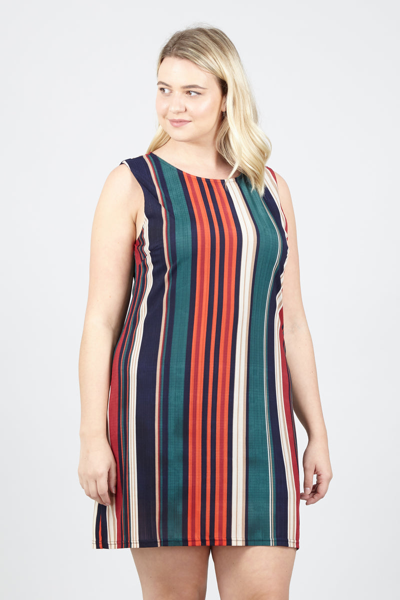 Curve Stripe Sleeveless Shift Dress - Izabel London