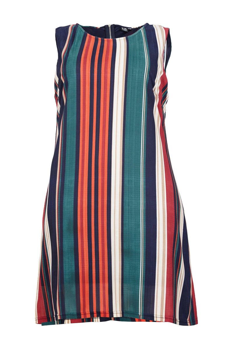 Red | Curve Stripe Sleeveless Shift Dress