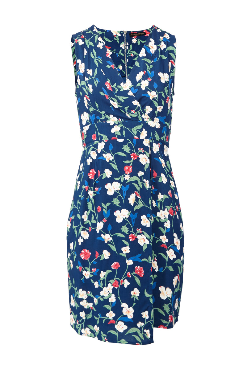 Blue | Floral Tie Back Dress