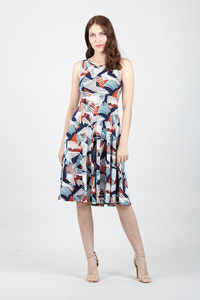 Geo Print Skater Dress - Izabel London