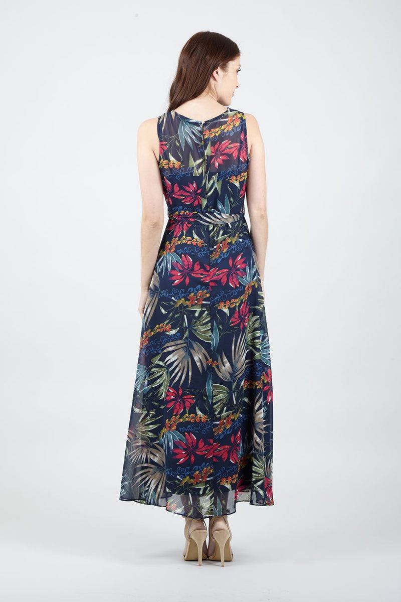Navy | Tropical Print Maxi Dress