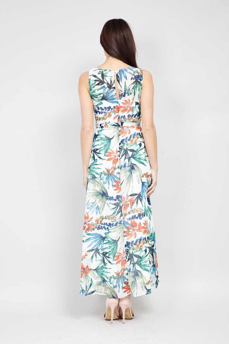 White | Tropical Print Maxi Dress