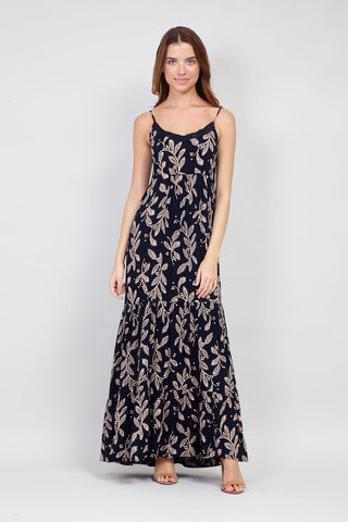 Tropical Print Plunge Maxi Dress