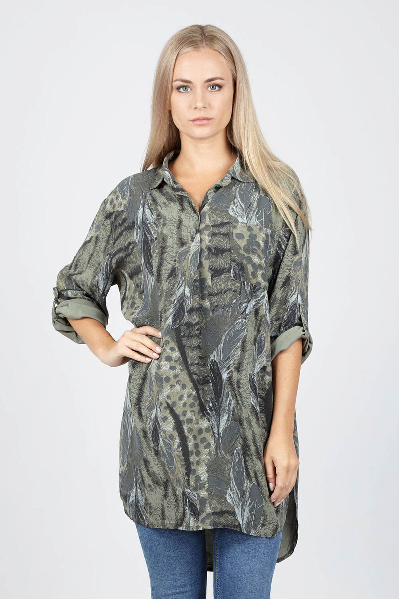 Animal Print Shirt Dress - Izabel London