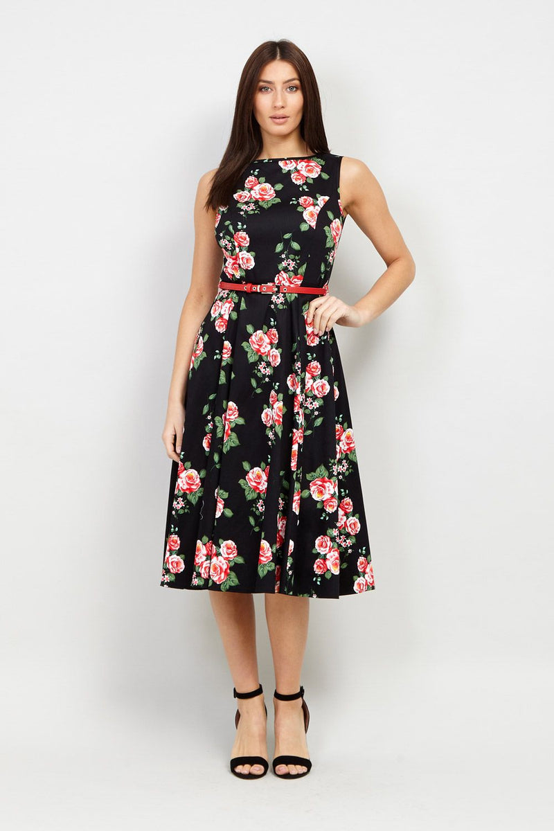 43b18c06718 Floral Belted Midi Dress – Izabel London