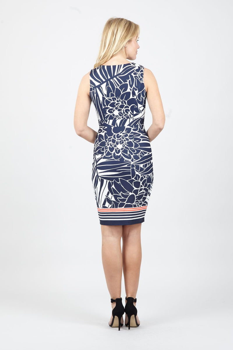 Navy | Floral Zip Front  Dress