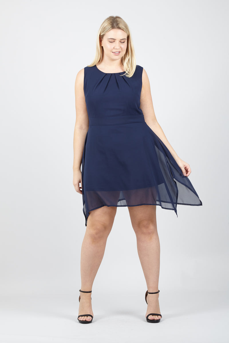 Curve Pleated Neckline Dress - Izabel London