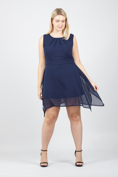 Navy | Curve Pleated Neckline Dress