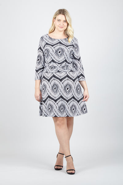 Curve Mosaic Skater Dress - Izabel London