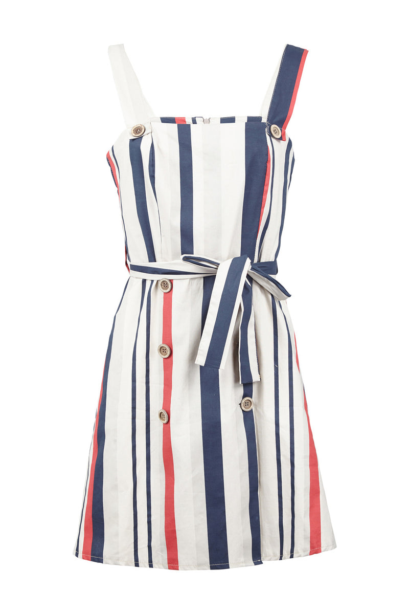 Navy | Striped Button Up Dress