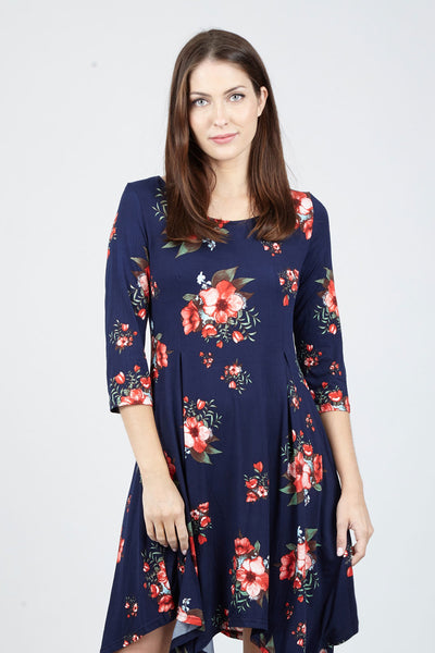 Floral Hanky Hem Dress - Izabel London