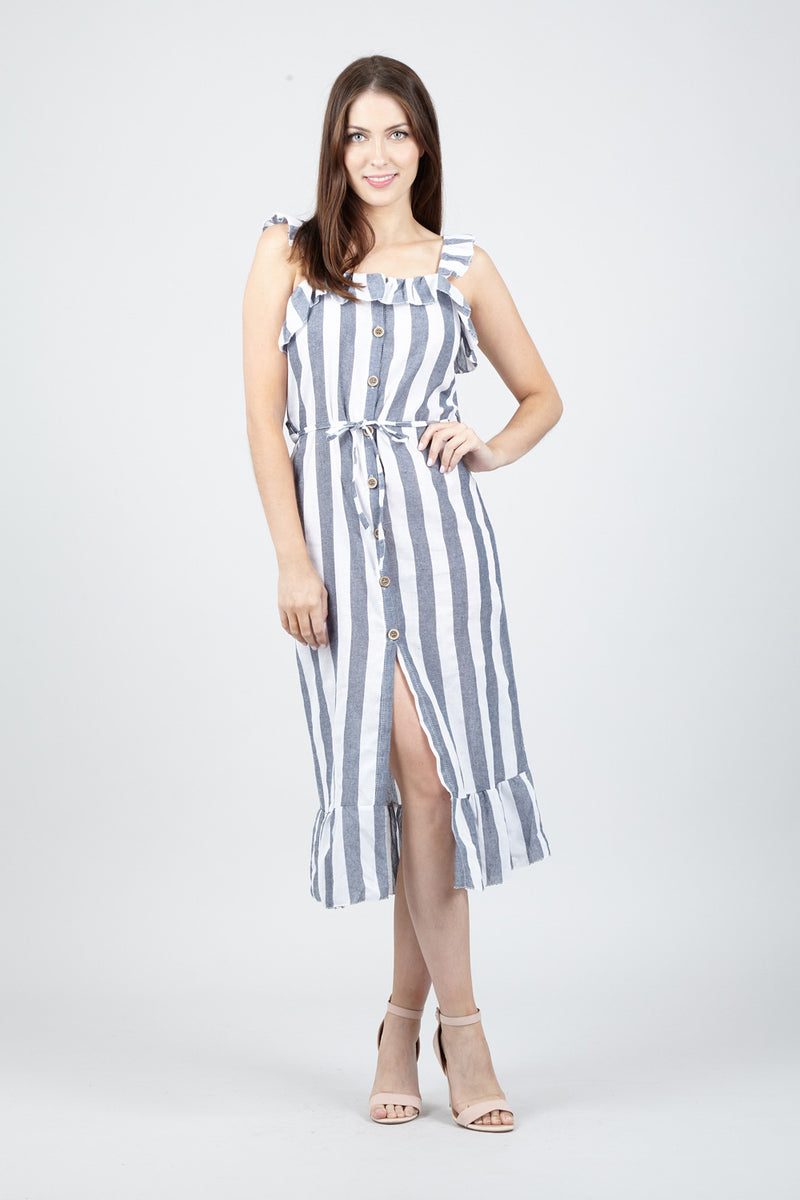 Grey | Striped Frill Dress | Izabel London