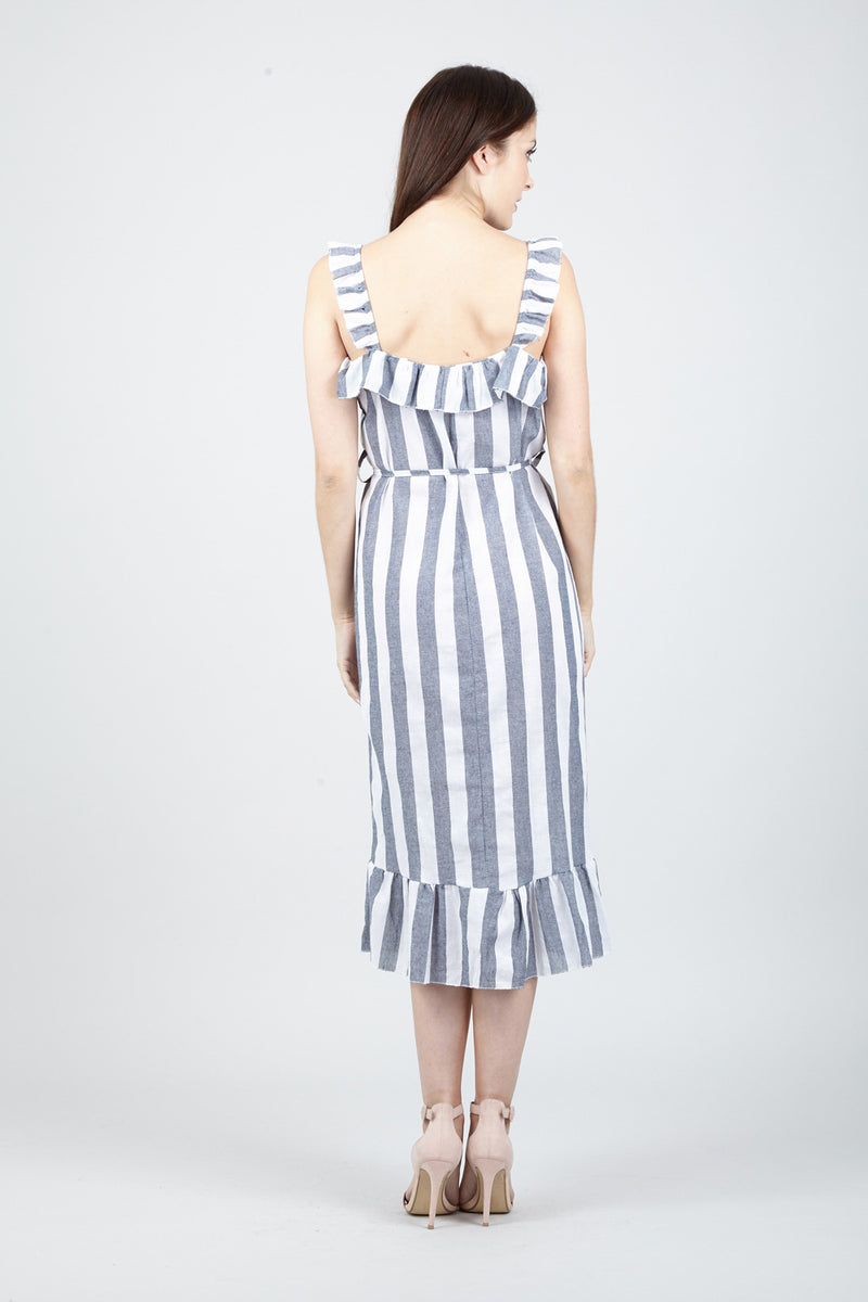 | Striped Frill Dress | Izabel London