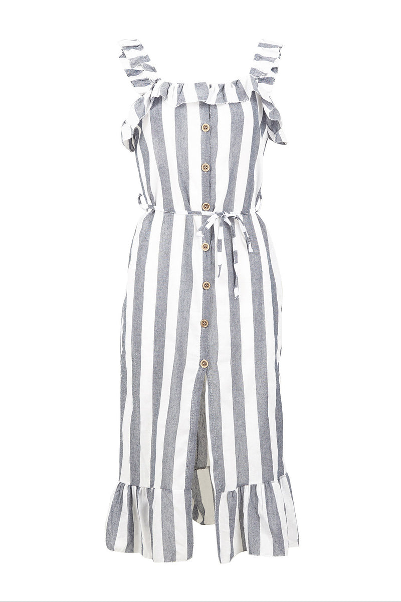 Grey | Striped Frill Dress