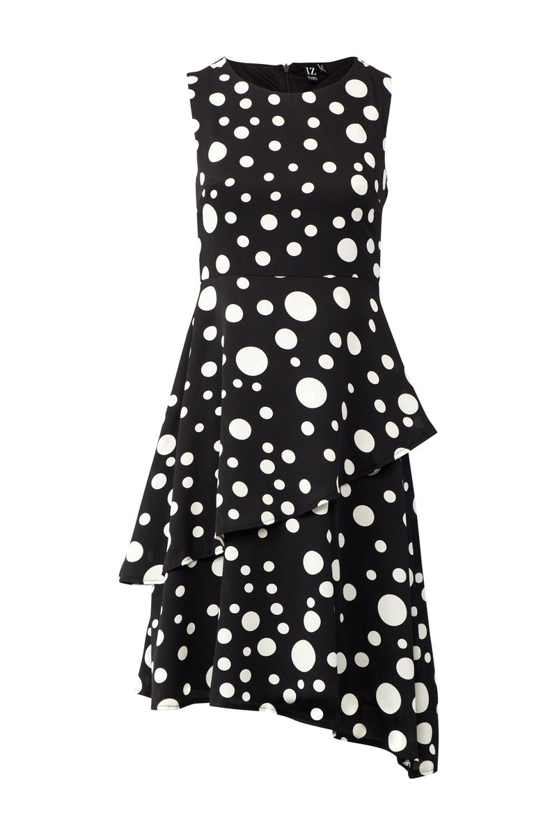 Black | Polka Dot Asymmetric Dress