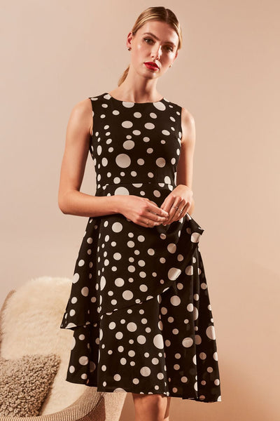 Polka Dot Asymmetric Dress - Izabel London