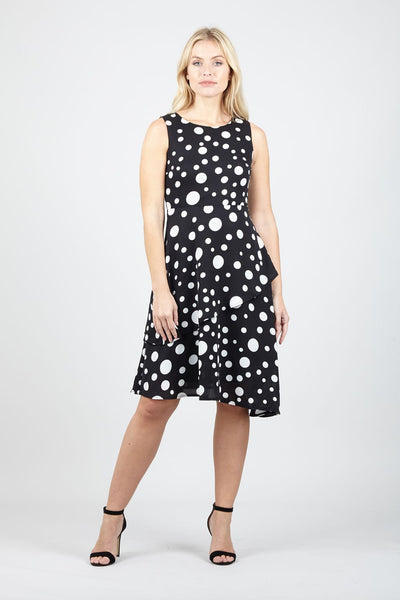 Black | Polka Dot Asymmetric Dress | Izabel London