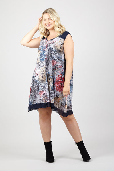Grey | Curve Floral Splatter Dress | Izabel London