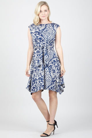 Zip Front Fit And Flare Denim Dress