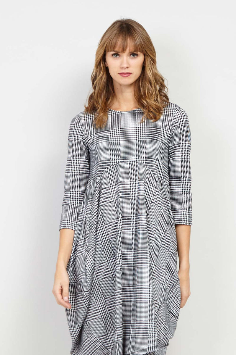 Black and White | Checked Balloon Dress | Izabel London