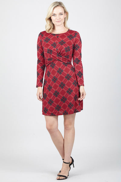 Checked Tie Waist Dress - Izabel London
