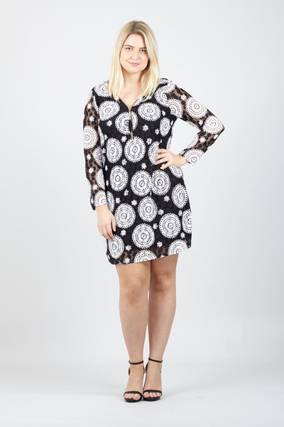 Curve Mosaic Print Shift Dress - Izabel London