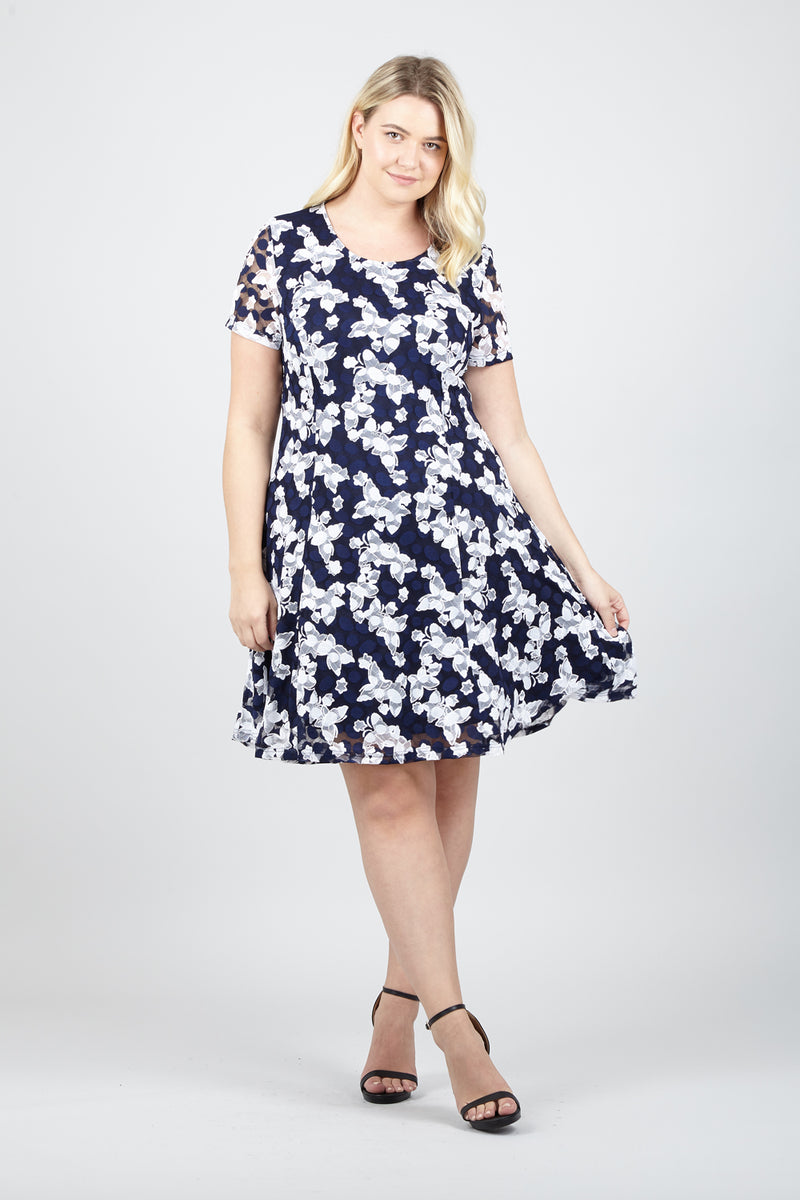 5f82c69ea60 Curve Leaf Lace Skater Dress - Izabel London