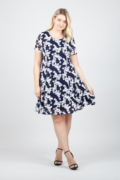 Curve Leaf Lace Skater Dress - Izabel London