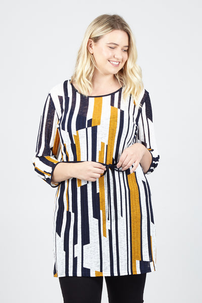 Curve Striped Tie Waist Dress - Izabel London
