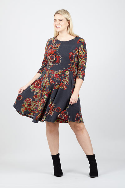 Curve Floral Skater Dress - Izabel London