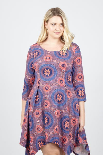 Curve Mosaic Print Swing Dress - Izabel London