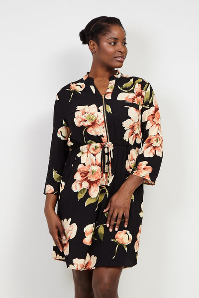 Curve Floral Zip Neck Dress - Izabel London