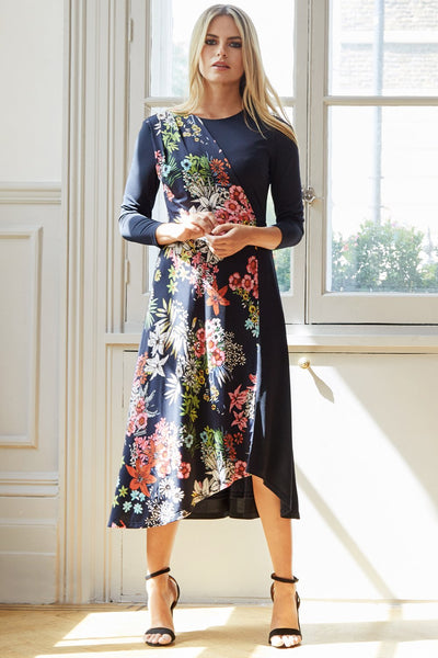 Floral Panel Midi Dress - Izabel London