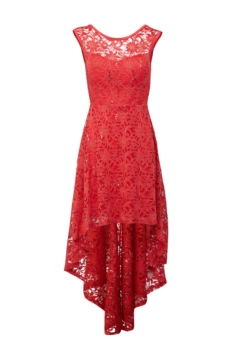 Lace Dip Back Hem Dress - Izabel London