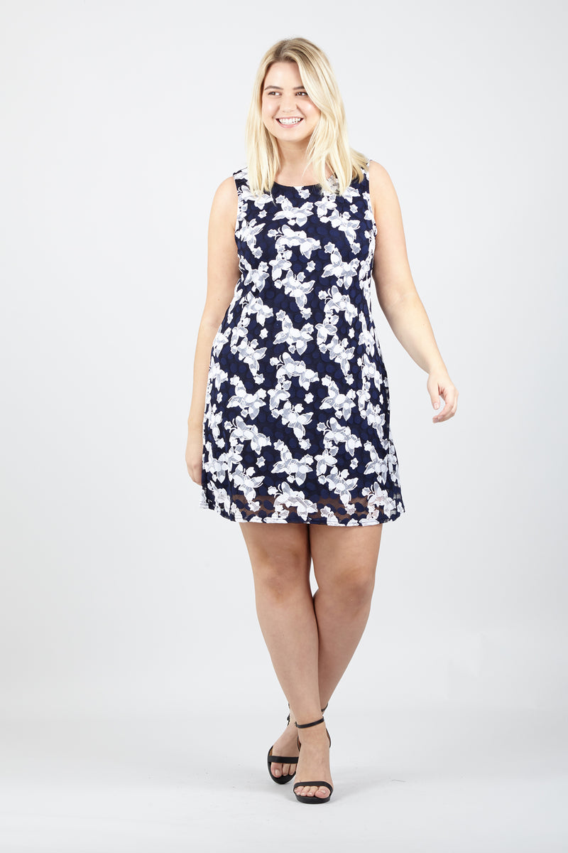 Navy | Curve Lace Overlay Shift Dress