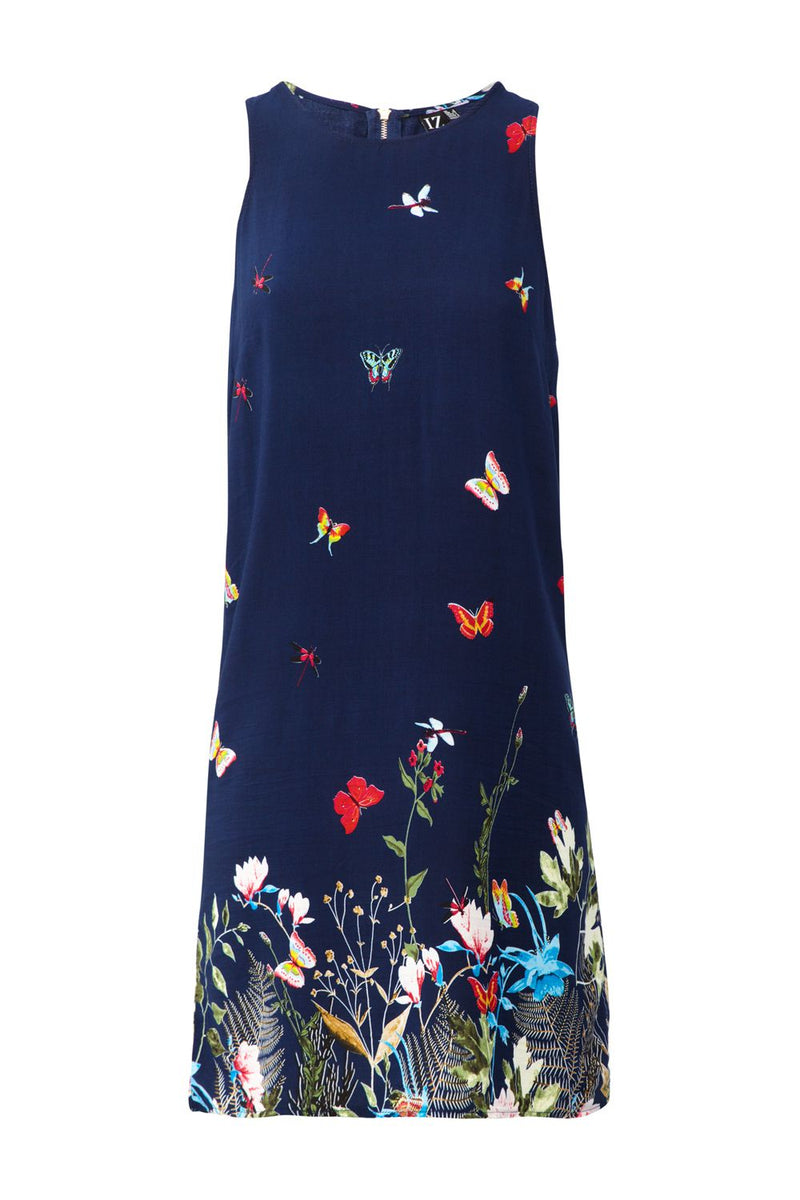 Floral Border Print Shift Dress - Izabel London