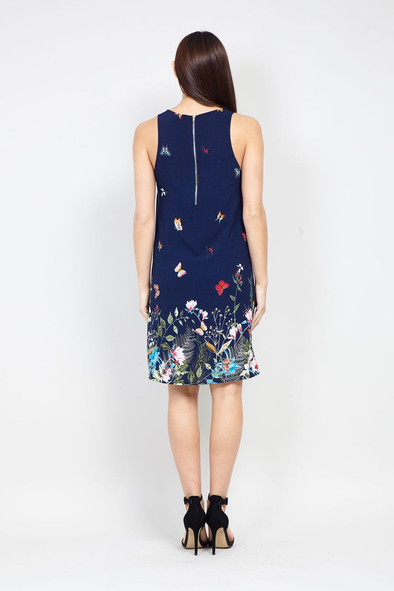 Navy | Floral Border Print Shift Dress