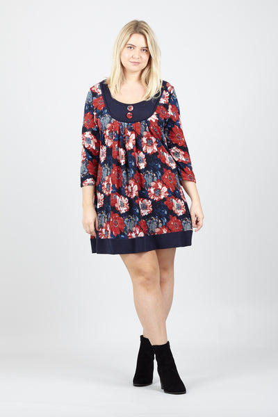 Curve Floral Tunic Dress - Izabel London