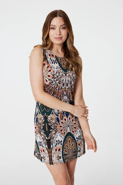 Peacock Print Shift Dress - Izabel London